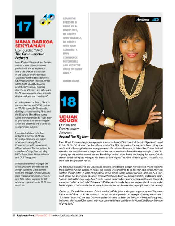 AMLs Uduak Oduok Featured in Applause Magazines 40 Under 40 African Influencers Fashion & Entertainment Attorney Uduak Oduok Featured in Applause Magazine 40 Under 40 African Influencers #AA40under40
