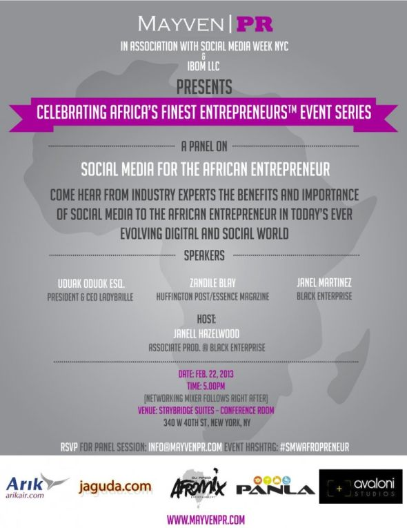 Social Media Week New York City Offical Flyer Calling all Entrepreneurs, Please JOIN me this Friday for the Social Media & The African Entrepreneur Panel #SMWAfropreneur